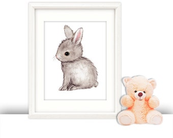 Bunny nursery, bunny nursery decor, children's art, baby animal nursery, bunny prints, nursery wall art, nursery wall decor, bunny art