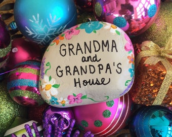 Grandma and Grandpa's House - garden stone, painted rocks, hand painted stones, rock art, paperweight, good luck charms, christmas gift,