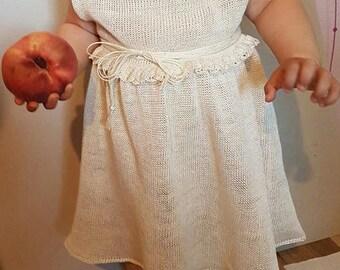 White toddler midi dress, christening dress, baptism dress, white girls dress, summer dress, girls dress, linen dress, knit linen dress