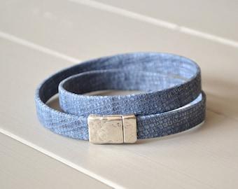 Blue Leather Wrap Bracelet, Denim Blue Leather Bracelet, Leather Bracelets, Leather Bracelets for Her