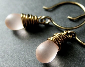 Teardrop Earrings. Frosted Pink Earrings. Wire Wrapped Dangle Earrings in Bronze - Elixir of Sugar. Handmade Earrings.