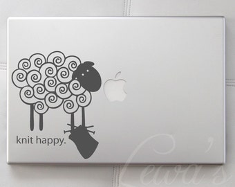 Knit Happy Sheep Laptop Notebook Macbook Computer Decal