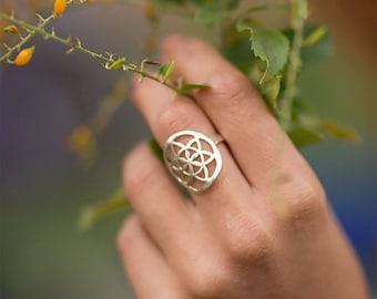 Seed of life ring/ sacred geometry ring/ mandala ring
