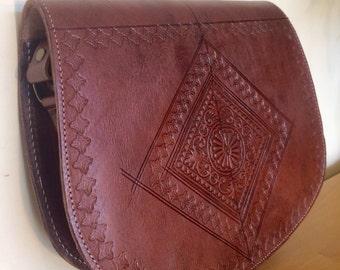 Leather hand made Moroccan cross body handbag