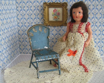 Antique Early 1900s Blue Painted Tin Doll Chair w/ Gilt Embellishments-Large Scale