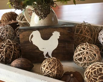 Rooster Decor - Chicken Decor - Farm Animal Wood Sign - Rustic Home Decor - Rustic Wooden Sign - Hand Painted Sign - Wood Sign - Wooden Sign
