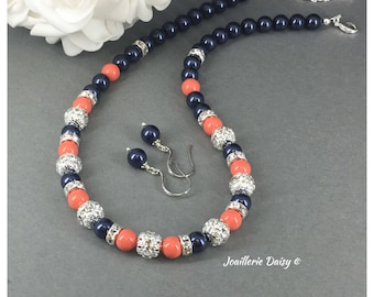 Bridesmaid Gift Jewelry Set Navy Necklace Coral Necklce Bridesmaid Gift for Her Maid of Honor Jewelry Bridal Jewlery Gift Idea Wedding