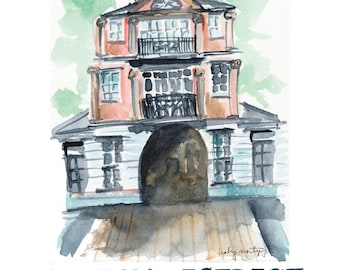 Cotton District, Starkville Mississippi - Pink Building - Watercolor Print - Hand Lettering - Rue du Grand Fromage