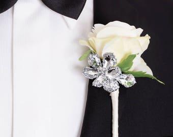 Prom Boutonniere - Wedding Boutonniere - Rose & Silver Flower Boutonniere, Ivory Boutonniere, Silk Flower Boutonniere , Prom Boutonnieres
