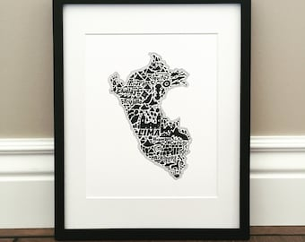"Peru Map Art Print - Signed 8.5"" x 11"" print of original hand drawn map including landmarks, culture, symbols, and cities"