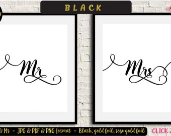Mr and Mrs wall decor, Mr and Mrs sign, Gold Foil, Rose Gold Foil wall art, Mr and Mrs wall art, Bedroom print, Couples Wall Art