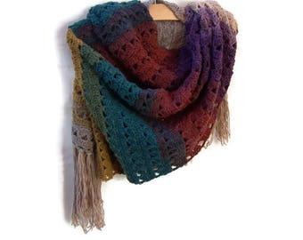 Crochet Boho Shawl - Rectangle Fringe Wrap - Woman Long Scarf - Multi Color