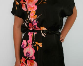 H&M v neck black floral silky dress