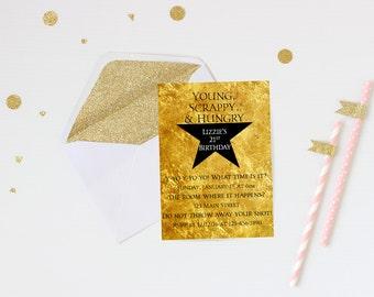 Hamilton invitation, digital download, birthday invitation, printable invite, printable birthday invitation, hamilton invite, hamilton party