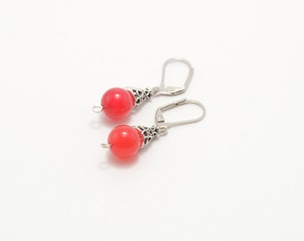 Agate earrings, magenta agate earrings, stone earrings, beaded earrings, natural stone earrings, semi precious stones, stone jewelry