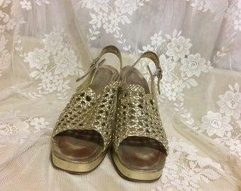 Beautiful  1970's Gold Platform Heels