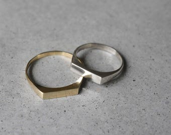 14k solid geometric ring, gold ring, Geometric Wedding Ring, 14k gold delicate signet ring, wedding ring, wedding band thin, minimalist ring