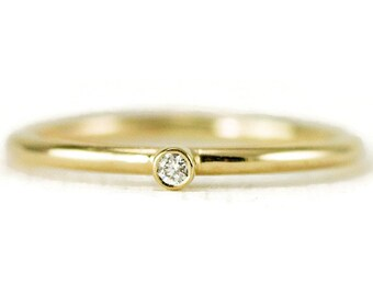 Tiny Diamond Gold Ring - Delicate Engagement Ring - Promise Ring - First Diamond Ring