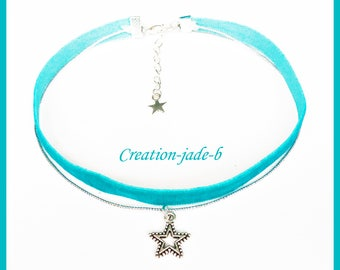 Choker necklace / Choker with Star Blue