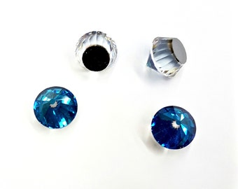 2 Pieces Swarovski Bermuda Blue Rockets, Flat Back, Article #4866, Vintage, 18mm Round