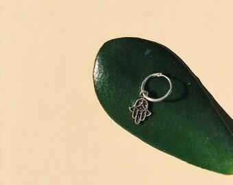 Hand of Fatima hoop earring