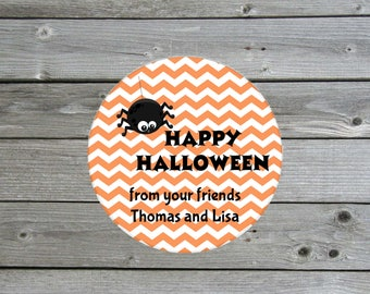 Halloween Sticker - Personalized Halloween Label - Spider Sticker - Halloween Treat Sticker - Halloween Party Favor