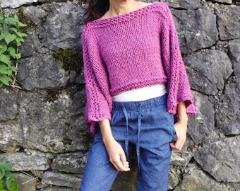Soft and cozy sweater /  Fuchsia Sweater / cropped sweater / handknit sweater/ women Sweater/