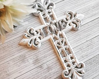 Wall Cross, Rustic Cross, Decorative Wall Cross, Wall Crucifix, Gallery Wall Decor, Farmhouse Decor, Metal Wall Cross, Rustic Wall Decor