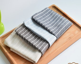 Cotton Linen Washable Pinstripe Cloth Napkins,4 Color,Dinner,Party,Wedding Napkins,Reusable,Birthday,Shower Gift-Custom Tablecloth,FREE GIFT