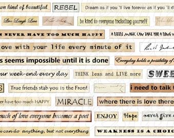 Digital collage sheet, Digital Phrase quotes Collage Sheet Instant Download, Quote collage sheet, digital collage sheet