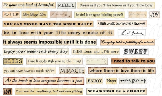 digital collage sheet digital phrase quotes collage sheet instant download quote collage sheet. Black Bedroom Furniture Sets. Home Design Ideas