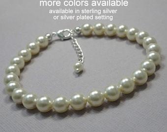 Pearl Bracelet, Ivory Pearl Bracelet, Swarovski Bracelet, Wedding Bracelet, Bridesmaid Gift Bracelet, Bridesmaid Bracelet, Wedding Jewelry