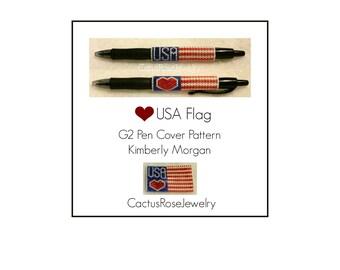 Heart USA Flag G2 Pen Cover Pattern Instant Downloading PDF  Patriotic, Flag