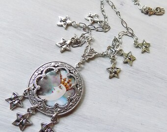 Moon necklace, Moon and star necklace, Tarot pendant, Tarot jewelry, Tarot necklace, gypsy necklace, celestial jewelry, celestial necklace