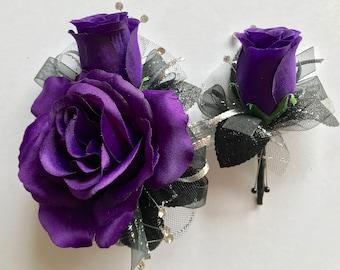 Dark Purple Silk Corsage Set (New Bigger Flowers )
