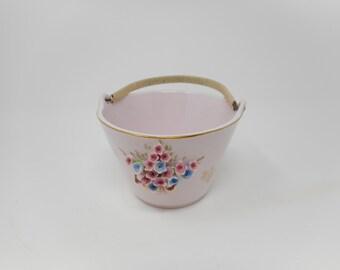 Vintage Lefton Pink China Flowered Basket Wicker Handle Easter Gift Mothers Day Gift