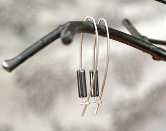Hematite Earrings, Metallic Jewelry, Modern Earrings, Handmade Earrings, Black Earrings