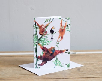 Swinging Orangutans Greetings Card