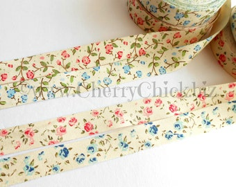 Floral Twill Tape - Printed Floral ribbon - Ribbon Label - Sewing Label - Cotton ribbon - Sewing ribbon - Cotton twill tape - ECS