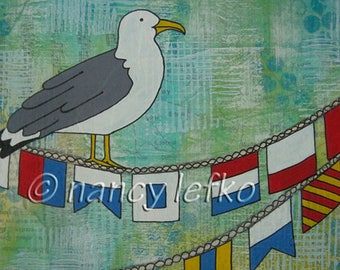 signal flags - 6 x 9 ORIGINAL MIXED MEDIA by Nancy Lefko
