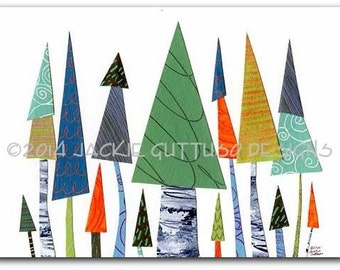 "Tree art, Giclee print 5 x 7"", Colorful cabin art, Forest nursery art, Woodland nursery, Whimsical tree collage, Acrylic tree painting print"