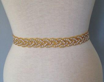 Gold all around Bridal belt wedding belt bridal sash wedding sash crystal sash wedding dress jeweled belt rhinestone sash rhinestone belt