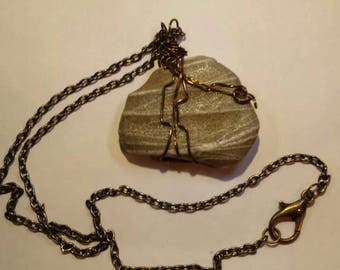 Taupe and Cream Stone Handcrafted Wire Wrapped,Dawlish English Gift from the Sea Rock Pendant, Unisex Necklace ,Yoga Jewelery,Earth Energy