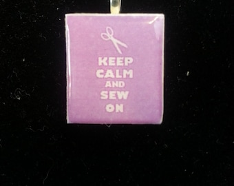 Keep Calm and Sew On - Scrabble Tile Charm Pendant - Ball Chain or Key Ring - Gift for Her - Gift Under 5