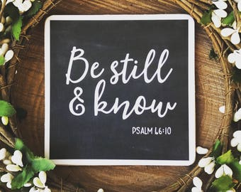 Be Still and Know Bible Verse Sign Magnet | Psalm 46:10 Bible Verse Wall Art | Wooden Sign With Scripture