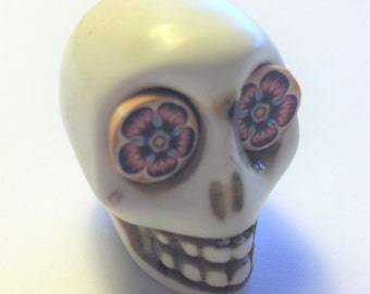 Sugar Skull Bead Gigantic White Bead with Wild Flower Eyes