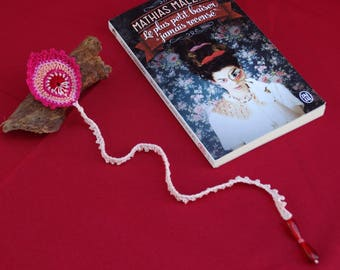 Pink Peacock feather, crocheted bookmark