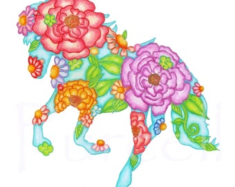 Seaside Carosel Horse Floral Art Print 8 x 10 inch.
