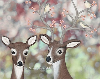 white tailed deer, warbling vireos, & cherry blossoms, signed art print 8X10 inches by Sarah Knight, birds flowers nature spring themed