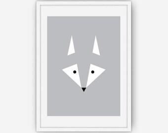 Silver Geometric Fox Print, Fox Art, Silver Fox Print, Geometric Art, Geometric Print, Wall Art, Wall Art, Printable, Instant Download